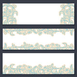 Set of three floral banners. With ornament Royalty Free Stock Photos