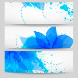 Set of three floral white-blue banners. Set of three vector floral white-blue banners royalty free illustration