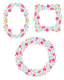 Set Of Three Floral Wreaths Stock Photos