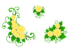 Set from three flower compositions Royalty Free Stock Images