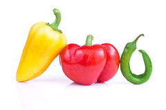 Set of three fresh peppers  Stock Photo