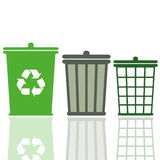 Garbage cans. Set of three garbage cans Stock Image