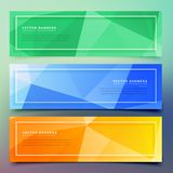 Set of three geometric colorful banners. Vector Stock Images