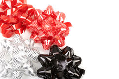 Set of three gift bows: white polka dots stock image