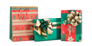 Set three gift box bag red green gold shiny paper wrap ribbon bow isolated Royalty Free Stock Images