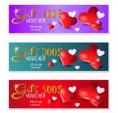 Set of three gift voucher template with heart, certificate. Background design coupon, currency. Vector. stock illustration