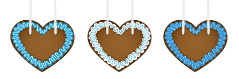 Set of three gingerbread hearts in different blue colors. Vector illustration EPS10 Stock Illustration