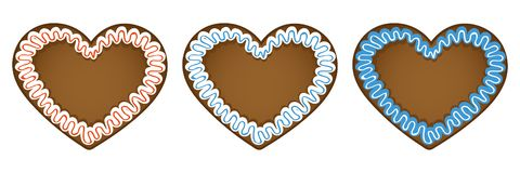Set of three gingerbread hearts in different colors. Vector illustration EPS10 Royalty Free Illustration