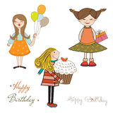 Set of three girls birthday party isolated on white background Stock Photography