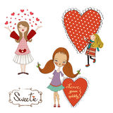 Set of three girls in love isolated on white background Royalty Free Stock Photo