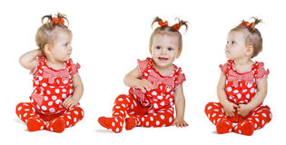 Set of three girls in a red dress. On white background Royalty Free Stock Photo