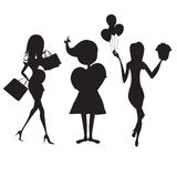 Set of three girls silhouettes at birthday party isolated on whi Stock Photo