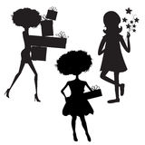 Set of three girls silhouettes at birthday party isolated on whi Stock Image
