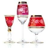 Set of three glasses. Isolated on white stock image