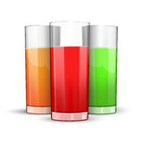 Set of three glasses of juice. Red, green and orange Stock Photos