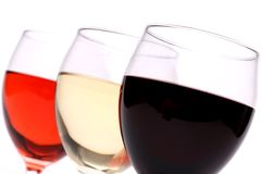Set of three glasses wine close-up Stock Photos
