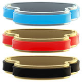 Set of three glossy coat tapes isolated Stock Images