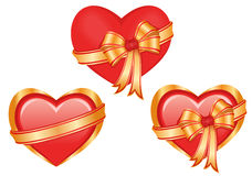 Set of three glossy hearts Royalty Free Stock Photography