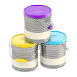 Set of three glossy paint buckets isolated Stock Image