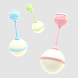 Set of three glossy rattles isolated Stock Photography