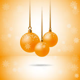 Set of three gold christmas balls with snowflakes Stock Images