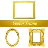 Set of three gold frame for your design needs Royalty Free Stock Photos