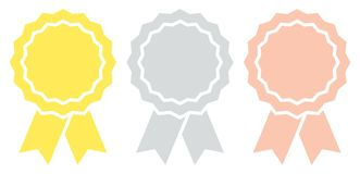 Set Of Three Graphic Award Badges With Ribbon Gold Silver Bronze royalty free illustration