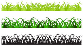Set of Three Grass Border Pieces. Vector, Seamless Stock Illustration