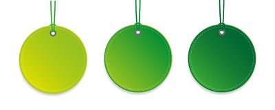 Set of three green hanging tags isolated vector illustration