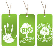 Set of three green tags for organic Royalty Free Stock Photography