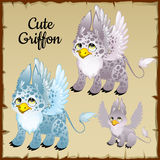 Set of three griffons on a parchment background Stock Image