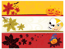 Set of three halloween banner. Illustration Stock Photo