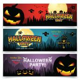 Set of three Halloween banners. Royalty Free Illustration