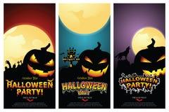Set of three Halloween banners. Stock Illustration