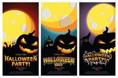 Set of three Halloween banners. Vector Illustration
