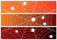 Set of three halloween banners with spiders Royalty Free Stock Image
