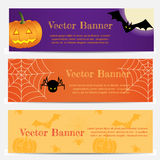 Set of Three Halloween banners Royalty Free Stock Photography