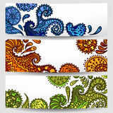Set of three hand-drawn banners. Vector illustration Stock Images