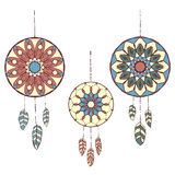 Set of three hand drawn colorful dreamcatchers Stock Image