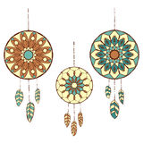Set of three hand drawn colorful dreamcatchers Stock Photography