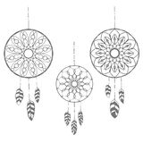 Set of three hand drawn dreamcatchers Royalty Free Stock Photos