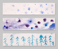 Set of three hand drawn watercolor header designs, blue, gray and pink color palette, blog design elements, winter theme Stock Photos