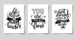 Set of three hand written lettering positive inspirational quote Royalty Free Stock Images