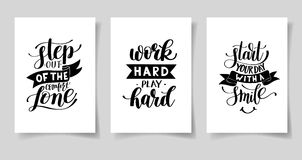 Set of three hand written lettering positive inspirational quote Stock Photo