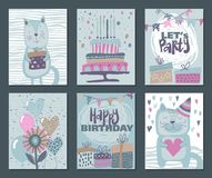 Set of three Happy Birthday Party cards. Vector hand drawn illustration royalty free stock image