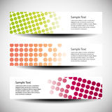 Set of three header designs. Colorful set of three header with dots texture designs Stock Image
