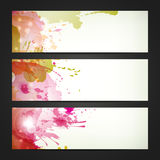 Set of three headers. Abstract artistic Backgrounds of autumn colors Vector Illustration