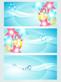 Set of three headers displaying waves Stock Image