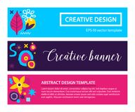 Set of three horizontal banners with abstract hand drawn elements. Can be used for advertising and graphic design. Set of three horizontal banners with abstract Royalty Free Stock Image