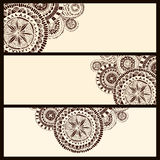 Set of three horizontal banners with brown circle Stock Photography